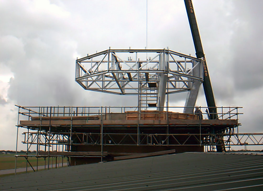 Craning the steelwork for Tex ATCs air traffic control room at RAF Coningsby, UK