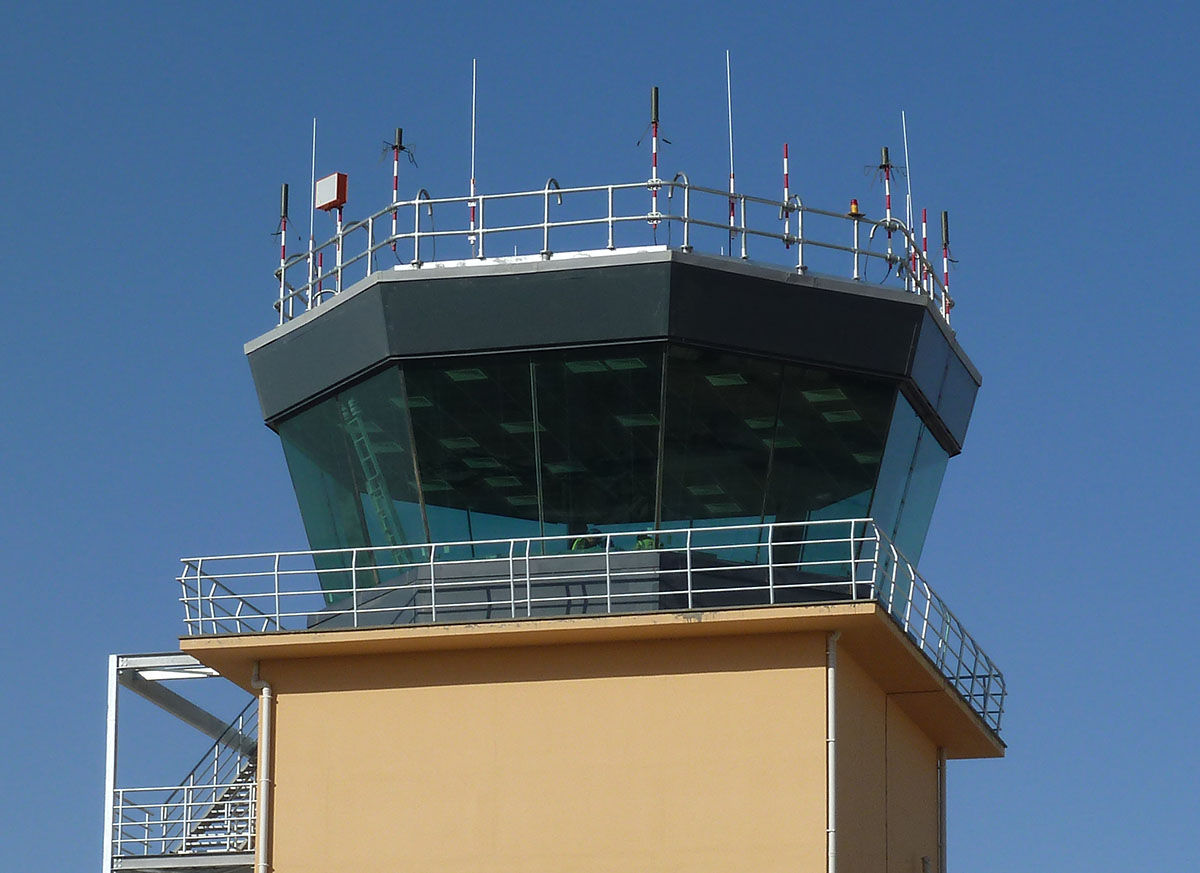 Close-up view of the exterior of the Tex ATC air traffic control tower room at Camp Bastion, Afghanistan