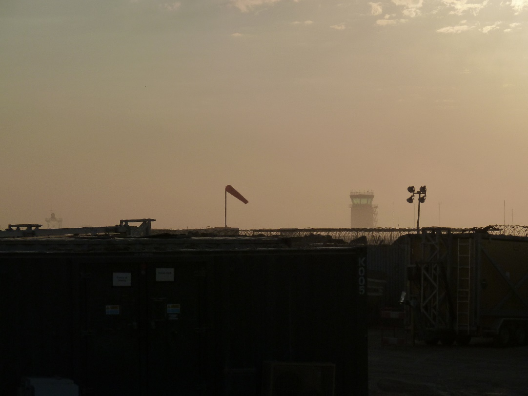 Sun sets on the Tex ATC air traffic control tower at Camp Bastion, Afghanistan