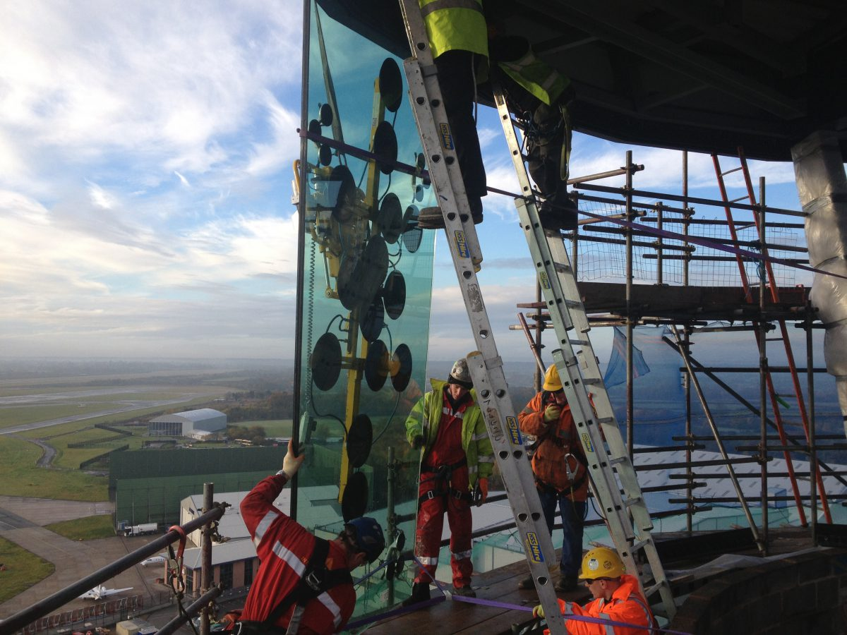Tex ATC installing glass at the air traffic control room in Manchester, UK