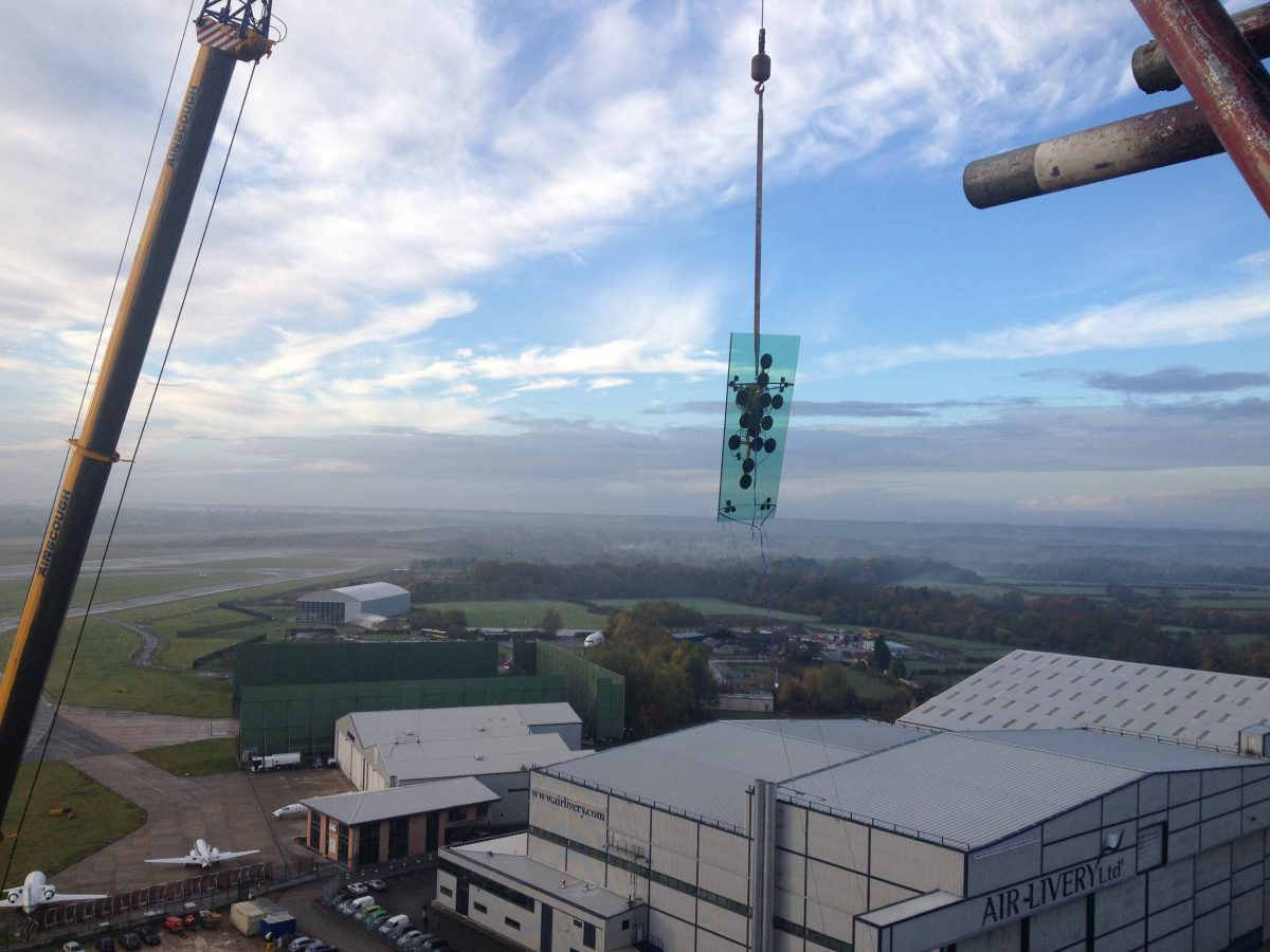 Dramatic view of the Tex ATC glass installation at Manchester Airport, UK