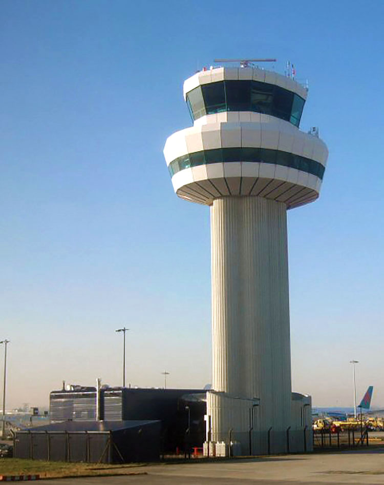 General view of the exterior of the air traffic control tower at Gatwick Airport, UK
