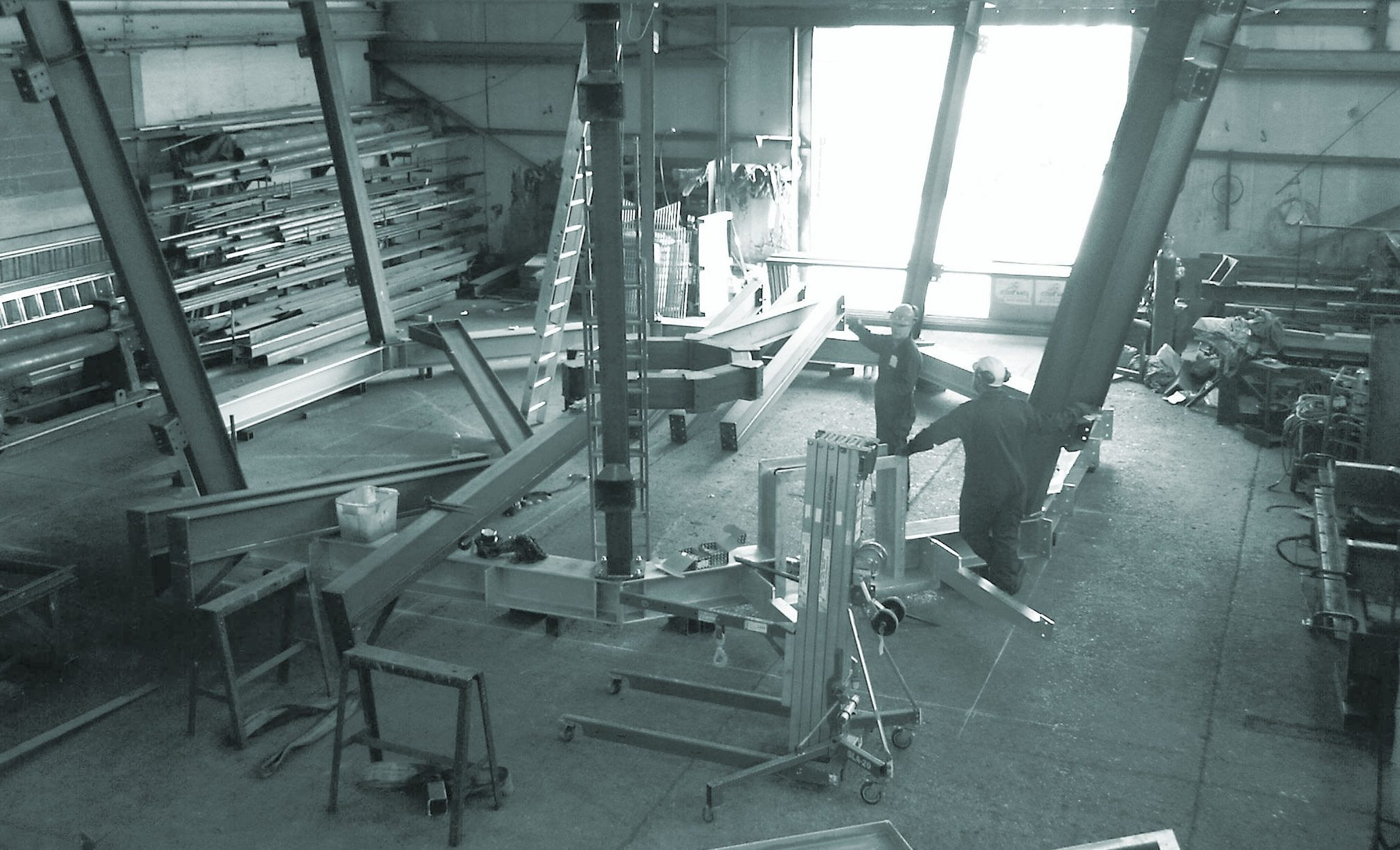 Inside a Tex workshop showing steel fabrication of an air traffic control room