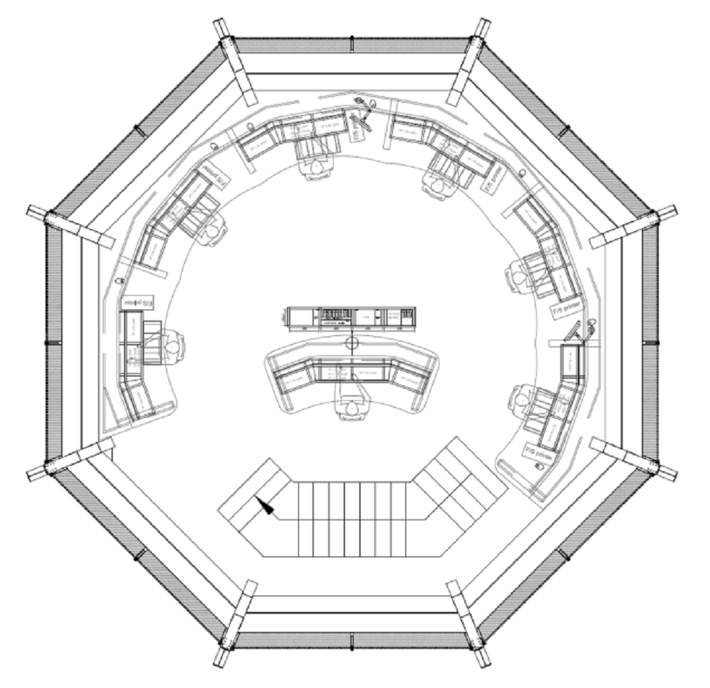 A diagram showing the plan view of the seating layout in their Multi-View 850 air traffic control tower