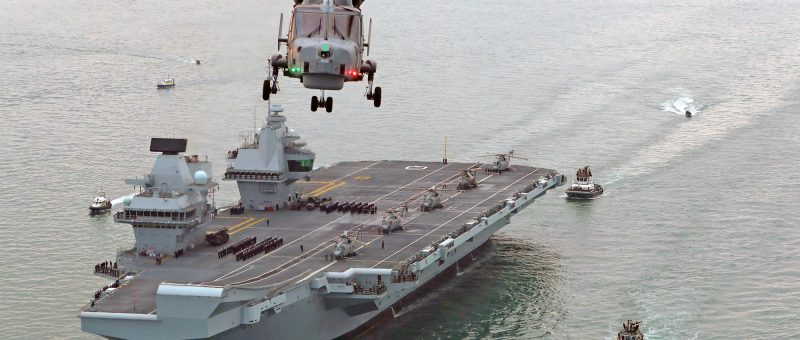 HMS Queen Elizabeth as she sailed into her home port of Portsmouth. Flyco by Tex Special Projects